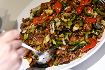 3豚肉とマコモ茸の豆豉炒め.jpg